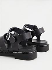 Black Faux Leather Lug Sandal (WW), BLACK, alternate