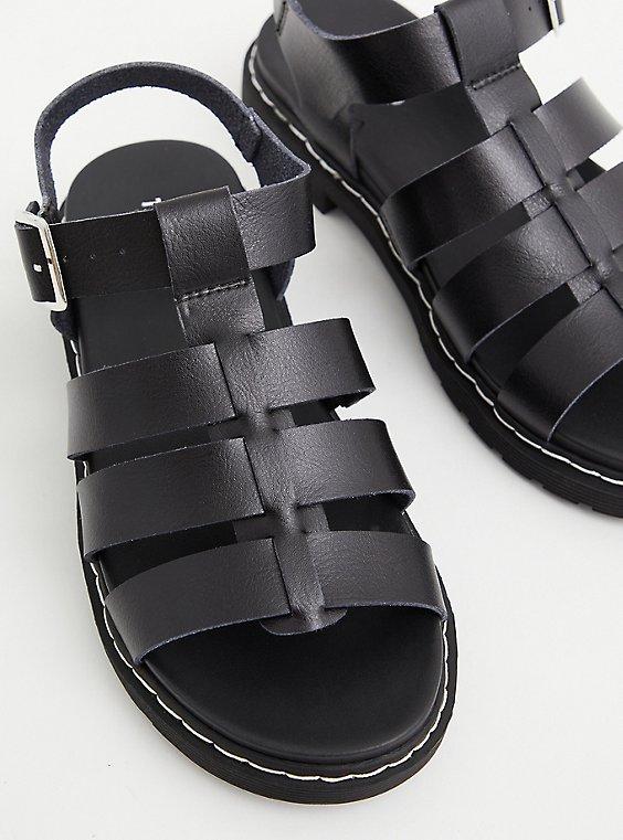 Black Faux Leather Lug Sandal (WW), BLACK, hi-res