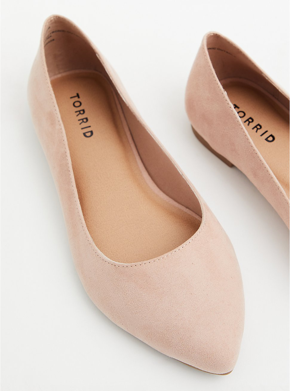 Light Pink Faux Suede Pointed Toe Flat (WW), BLUSH, hi-res