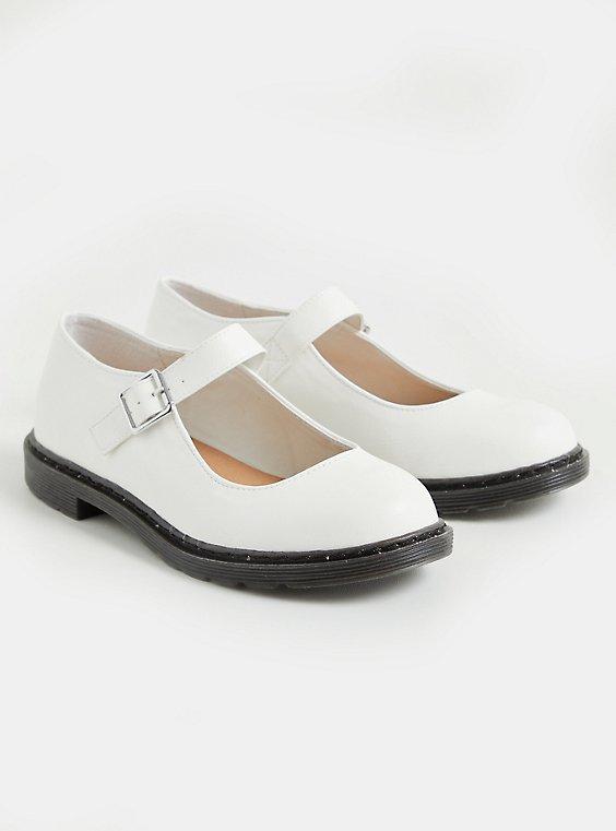 White Faux Leather Mary Jane Flat (WW), WHITE, hi-res