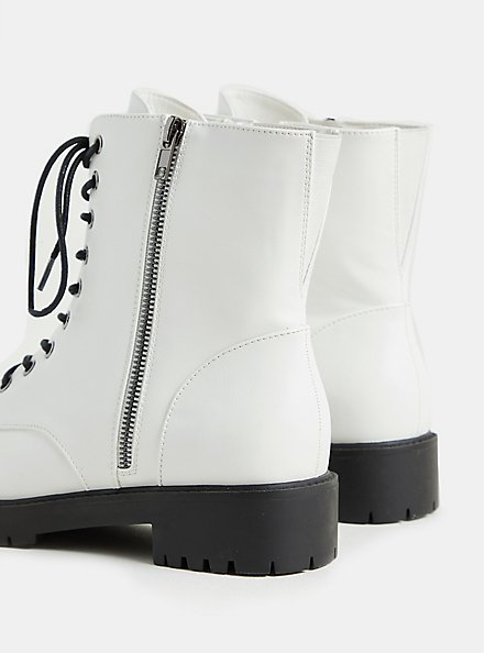 White Faux Leather Lace-Up Combat Boot (WW), WHITE, alternate
