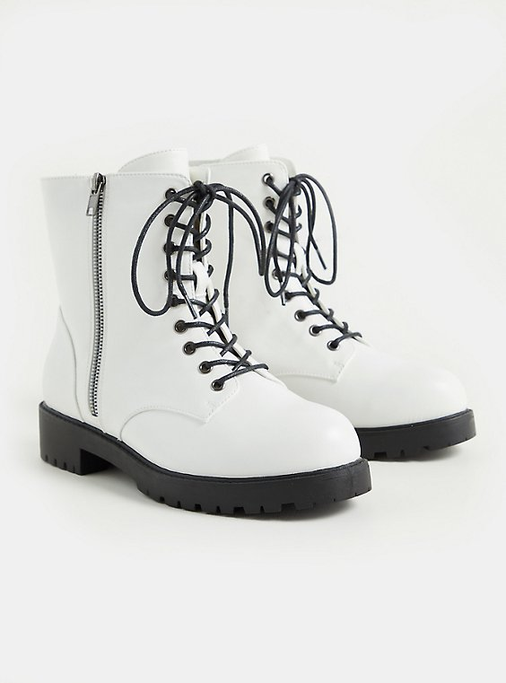 White Faux Leather Lace-Up Combat Boot (WW), WHITE, hi-res