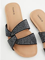 Black Rhinestone Twist Slide Sandal (WW), BLACK, alternate