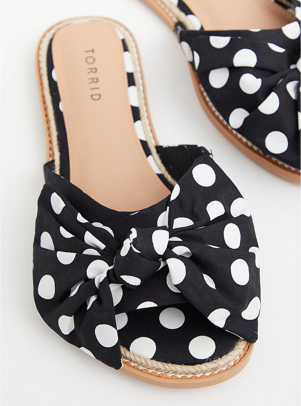 Black Polka Dot Espadrille Slide Sandal (WW), BLACK-WHITE DOT, hi-res