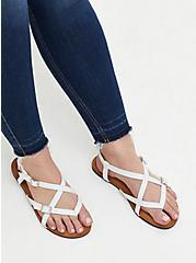 White Faux Leather Gladiator Sandal (WW), WHITE, alternate