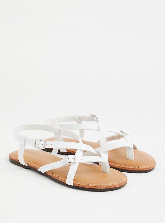 White Faux Leather Gladiator Sandal (WW), WHITE, hi-res