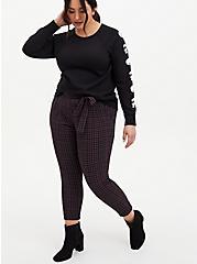 Black Skull Fleece Tunic Sweatshirt, DEEP BLACK, alternate
