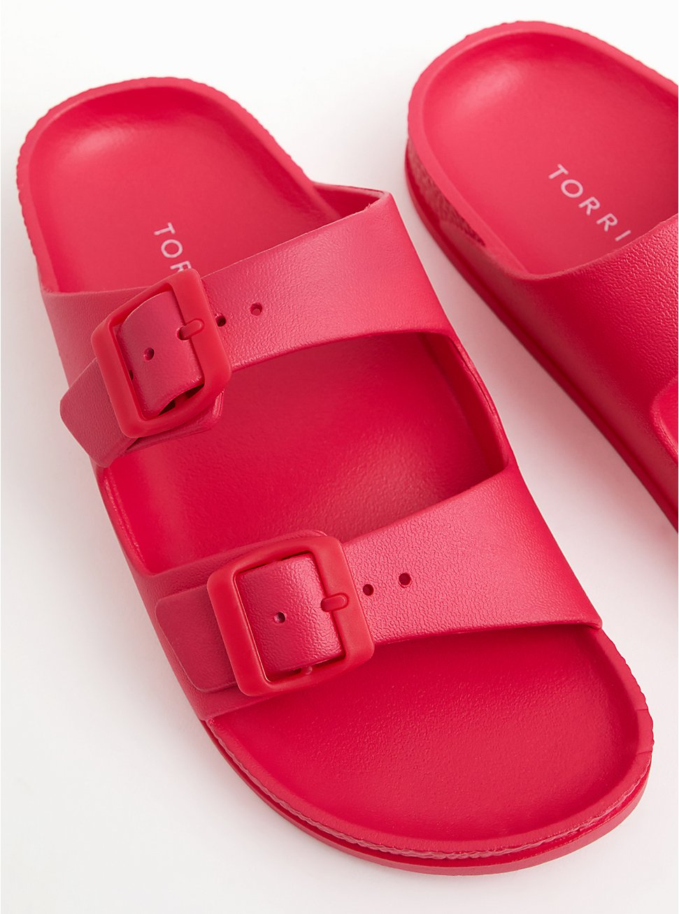 Hot Pink Rubber Dual Strap Slide Sandal (WW), HOT PINK, hi-res