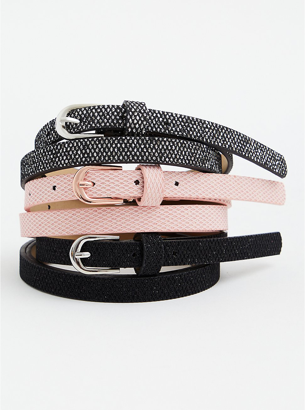 Light Pink & Black Faux Leather Skinny Belt Pack - Pack of 3, MULTI, hi-res