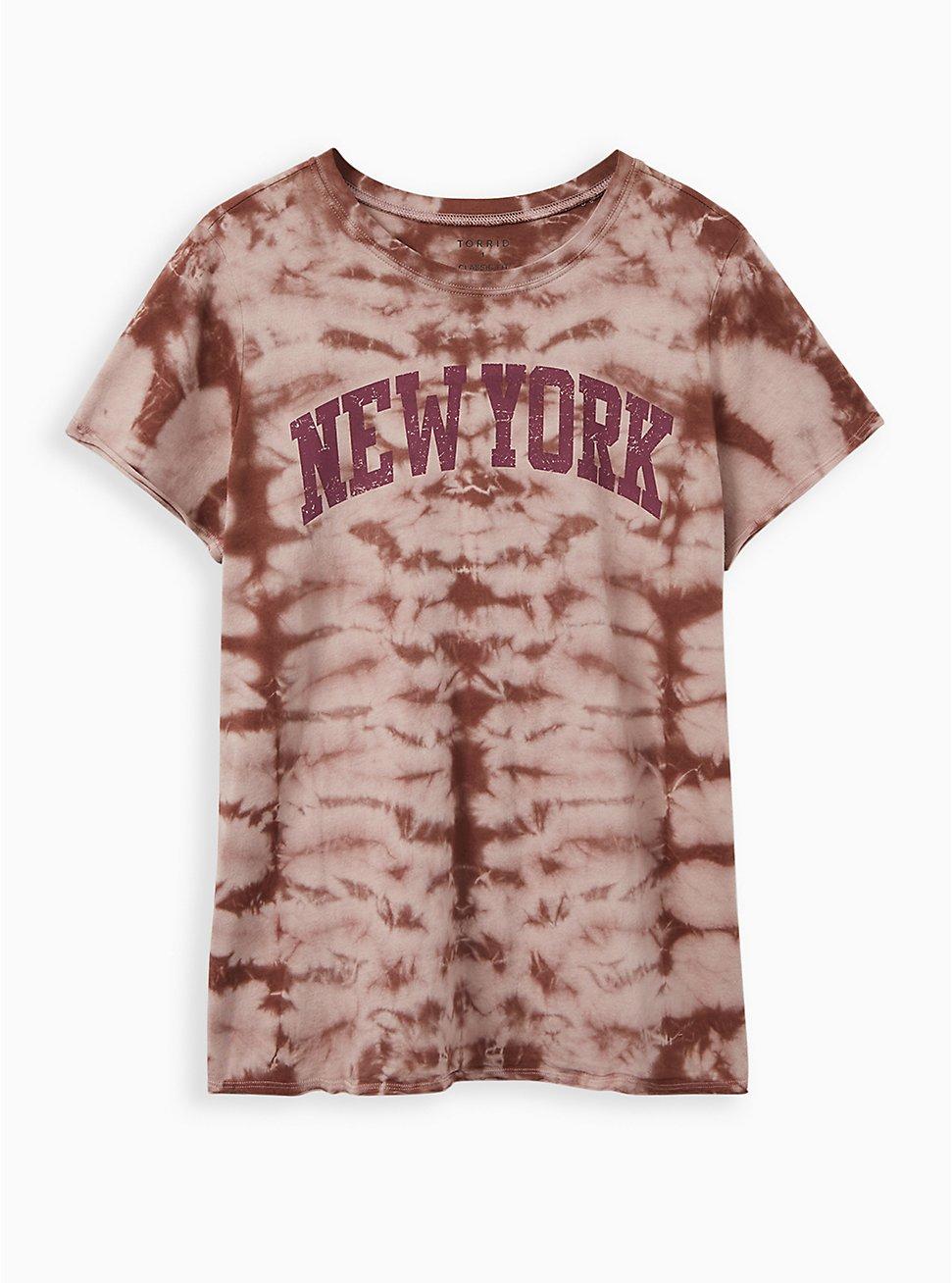 Classic Fit Crew Tee - New York Tie-Dye Burgundy Purple, PURPLE, hi-res