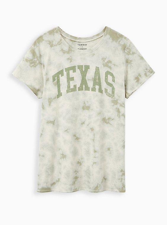 Classic Fit Crew Tee - Texas Tie-Dye Jade Green, JADE, hi-res