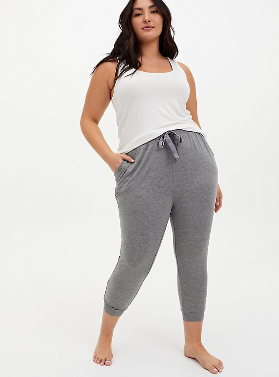 Classic Fit Crop Sleep Jogger - Super Soft Light Heather Grey, GREY, hi-res