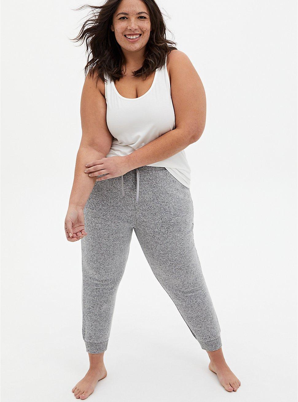 Classic Fit Crop Sleep Jogger - Super Soft Plush Grey, GREY, hi-res