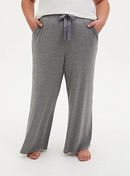 Super Soft Heather Grey Wide Leg Drawstring Sleep Pant, GREY, alternate