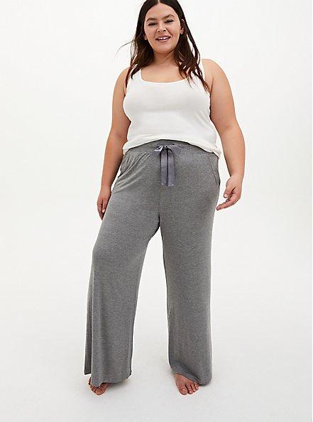 Super Soft Heather Grey Wide Leg Drawstring Sleep Pant, GREY, hi-res