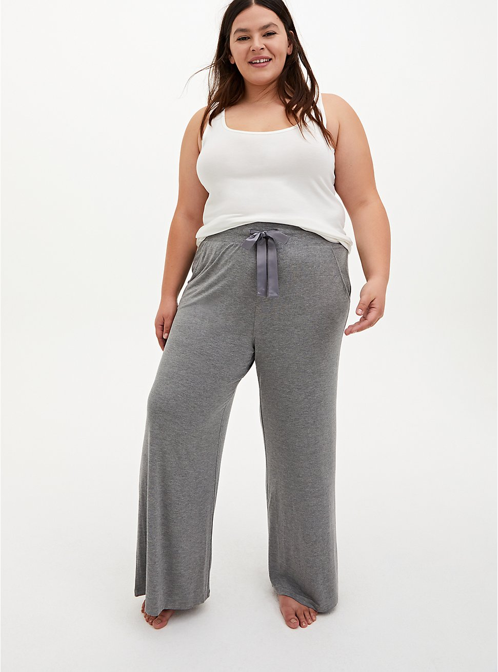 Super Soft Heather Grey Wide Leg Drawstring Sleep Pant, GREY, hi-res