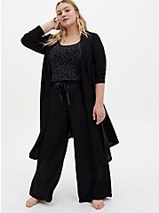 Super Soft Plush Black Wide Leg Drawstring Sleep Pant, DEEP BLACK, hi-res