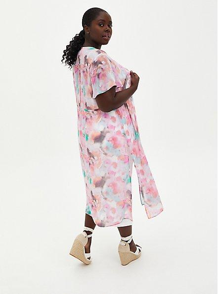Multi Watercolor Tie-Front Duster Kimono, TIE DYE-PINK, alternate