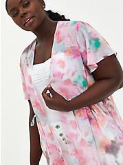 Multi Watercolor Tie-Front Duster Kimono, TIE DYE-PINK, hi-res