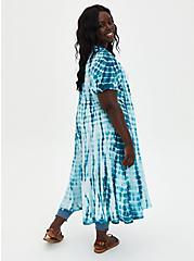 Blue Tie-Dye Chiffon Hi-Lo Clip Dot Kimono, TIE DYE-BLUE, alternate