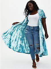 Blue Tie-Dye Chiffon Hi-Lo Clip Dot Kimono, TIE DYE-BLUE, hi-res