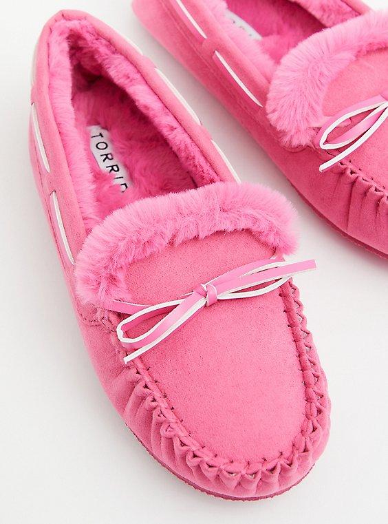 Hot Pink Faux Fur Bow Slipper (WW), , hi-res