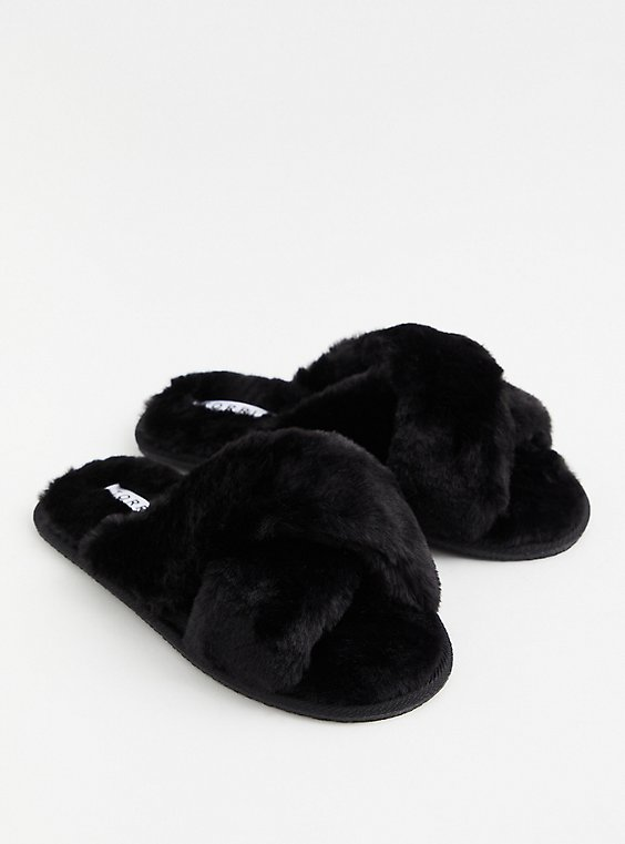 Black Faux Fur Crisscross Slipper (WW), , hi-res