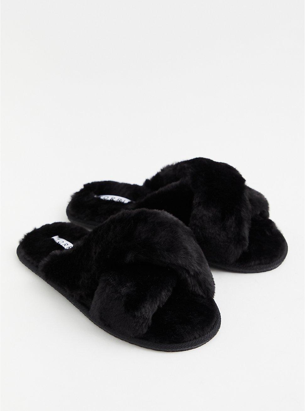 Black Faux Fur Crisscross Slipper (WW), BLACK, hi-res