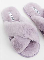 Lilac Purple Faux Fur Crisscross Slipper (WW), LAVENDER, hi-res