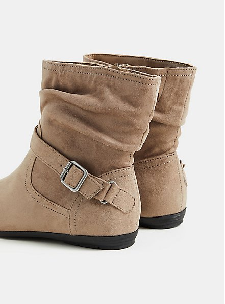 Taupe Faux Suede Slouch Ankle Bootie (WW), TAN/BEIGE, alternate
