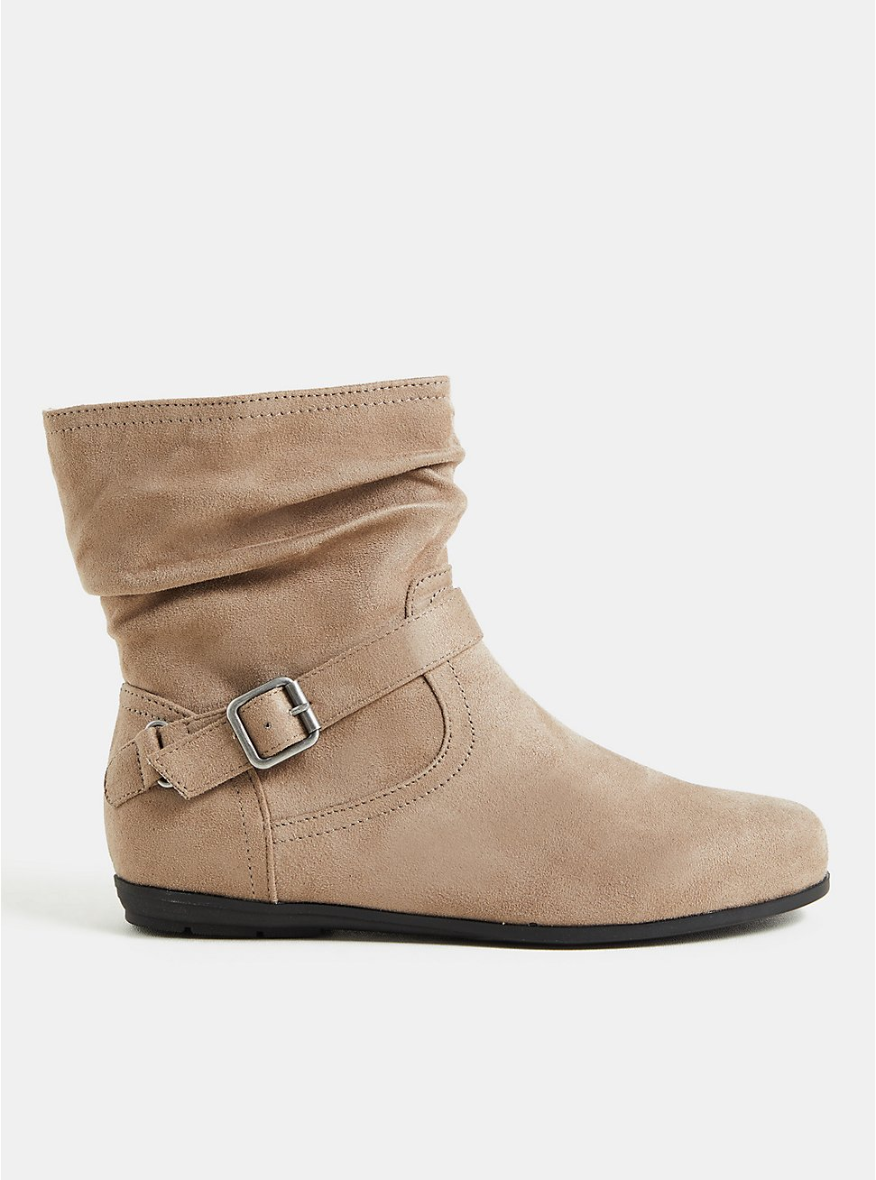 Taupe Faux Suede Slouch Ankle Bootie (WW), TAN/BEIGE, hi-res