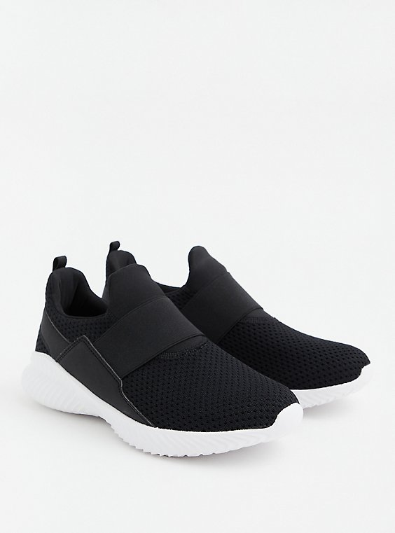 Black Knit & Elastic Band No Lace Slip-On Sneaker (WW), BLACK, hi-res