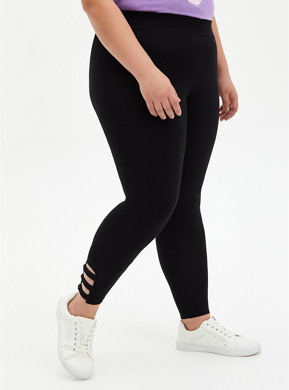 Premium Legging - Lattice Ankle With Button Black, BLACK, hi-res