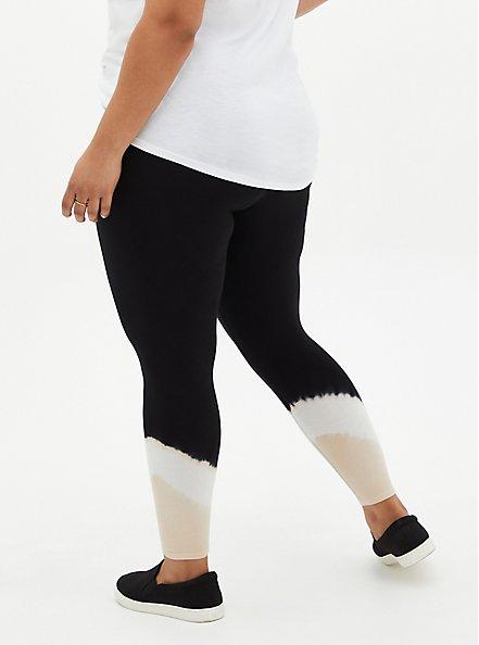 Premium Legging - Tie-Dye Hem Beige & Black, MULTI, alternate