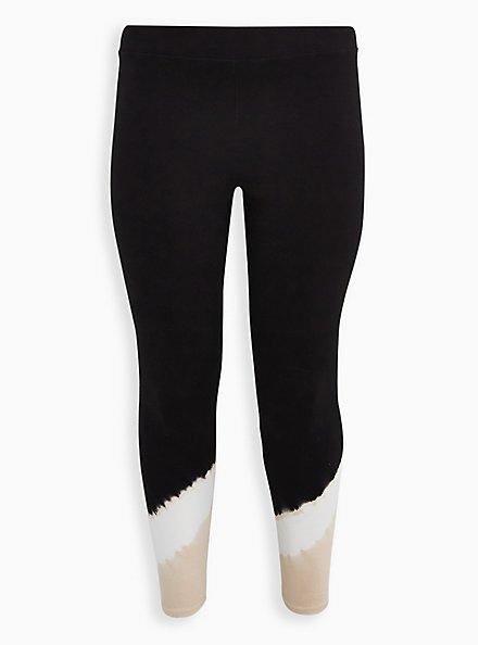 Premium Legging - Tie-Dye Hem Beige & Black, MULTI, hi-res