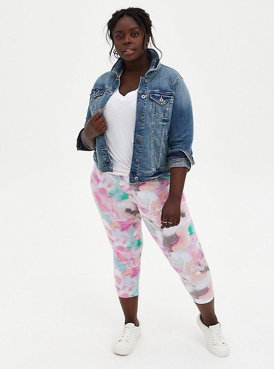 Crop Premium Legging - Watercolor Multi, MULTI, hi-res