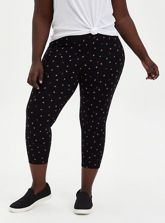 Crop Premium Legging - Strawberry Print Black, , hi-res