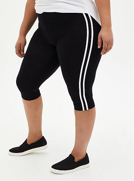 Pedal Pusher Premium Legging - Side Stripe Black, BLACK, hi-res