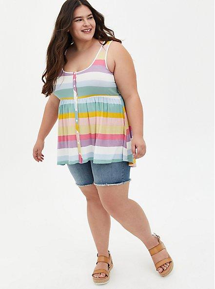 Super Soft Multi Stripe Button Front Babydoll Tunic, OTHER PRINTS, alternate