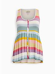 Super Soft Multi Stripe Button Front Babydoll Tunic, OTHER PRINTS, hi-res