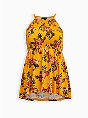 Golden Yellow Floral Smocked High Neck Babydoll Top, OTHER PRINTS, hi-res