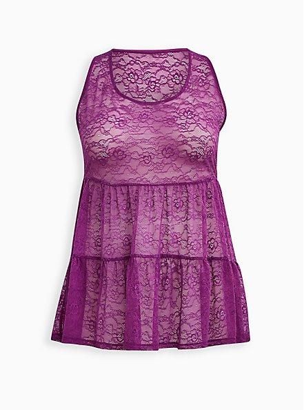 Lavender Purple Lace Tiered Babydoll Tunic Tank, PURPLE, hi-res