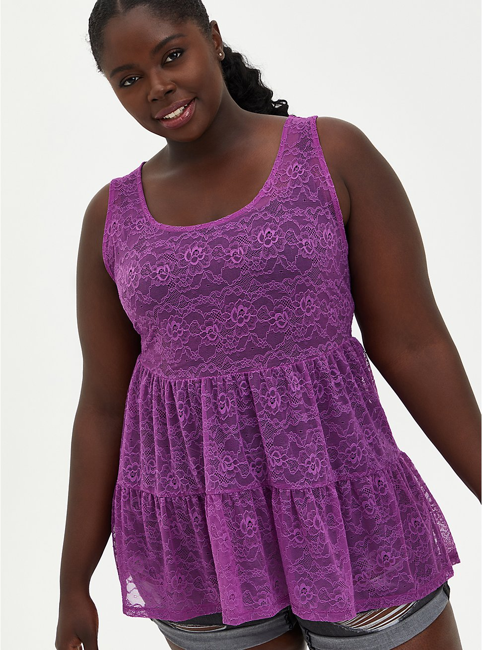 Lavender Purple Lace Tiered Babydoll Tunic Tank, PURPLE, hi-res