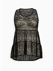 Black Lace Tiered Babydoll Tunic Tank, DEEP BLACK, hi-res