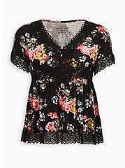 Super Soft Black Floral Lace Babydoll, OTHER PRINTS, hi-res