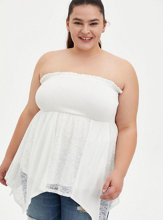 Super Soft White Smocked Tube Top, BRIGHT WHITE, hi-res