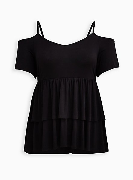 Super Soft Black Cold Shoulder Babydoll Top, DEEP BLACK, hi-res