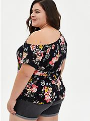 Off Shoulder Tee - Heritage Slub Floral Black , OTHER PRINTS, alternate