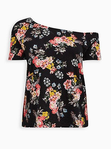 Off Shoulder Tee - Heritage Slub Floral Black , OTHER PRINTS, hi-res