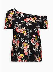 Off Shoulder Tee - Heritage Slub Floral Black , OTHER PRINTS, hi-res